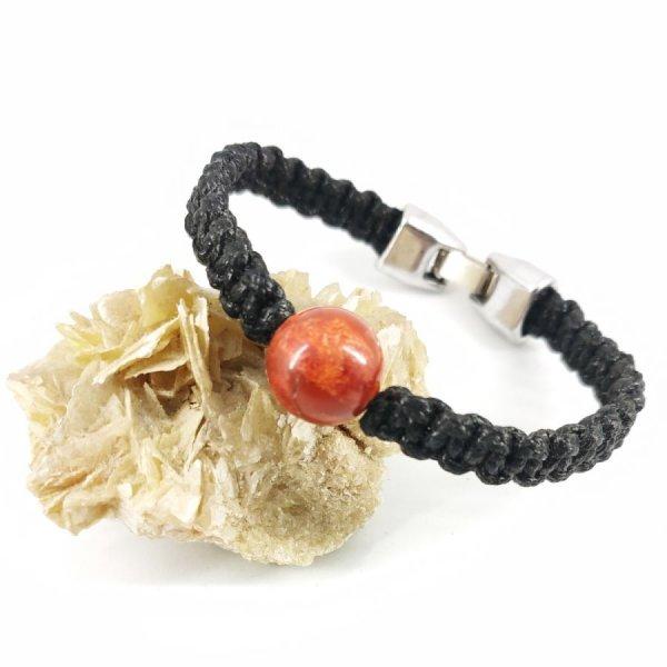 Bracelet corde tissée avec perle en gorgone orange
