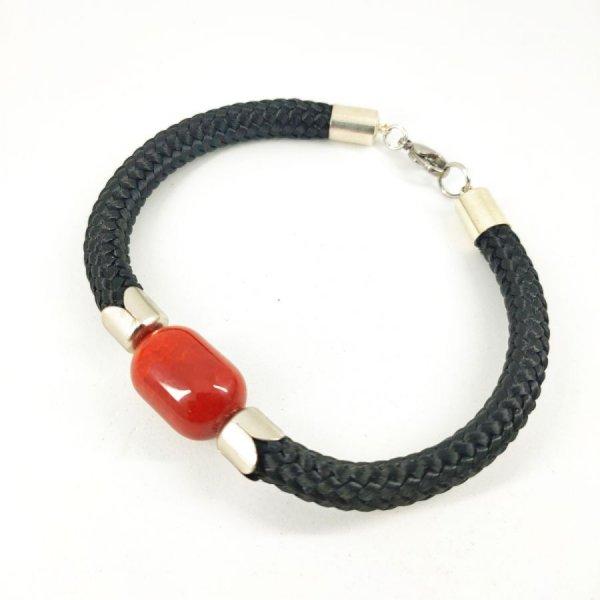 Bracelet corde tissée avec pierre en cornaline tonneau