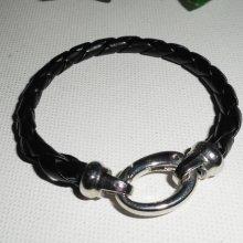 Bracelet cuir avec fermoir ovale