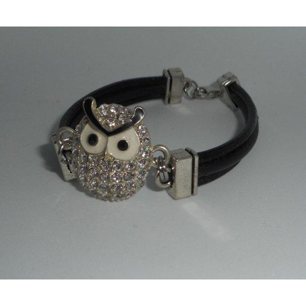 Bracelet cuir multi-rangs avec chouette en strass