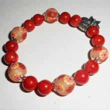 Bracelet en gorgone avec perles fleuries orangées
