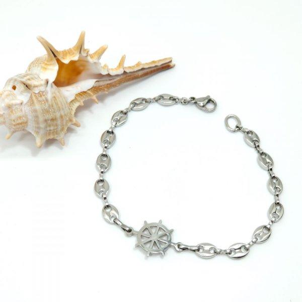 Bracelet gouvernail sur chaine grain de café en acier