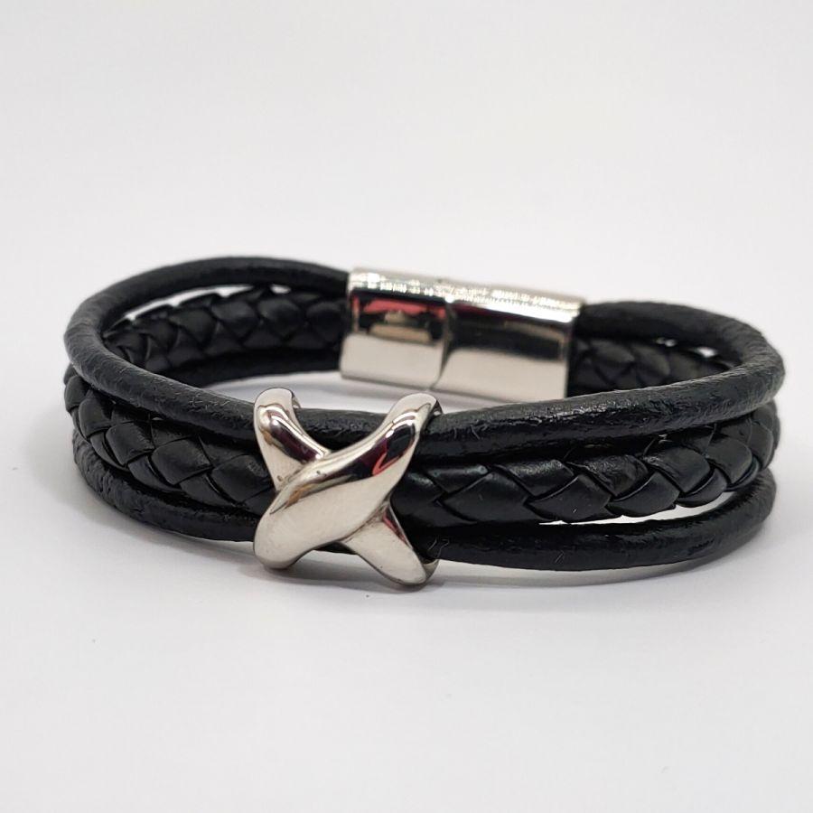 Bracelet homme X en acier inoxydable sur cuir noir