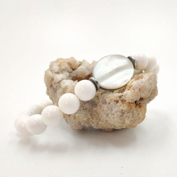 Bracelet homme en coquillage blanc et palet de nacre