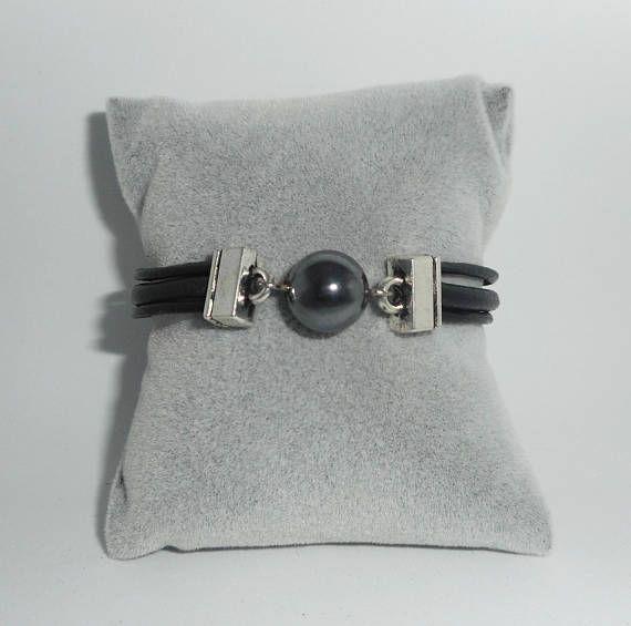 Bracelet homme cuir multi-rangs avec pierre en hématite