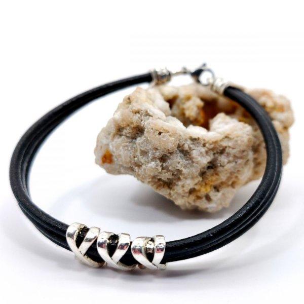Bracelet homme cuir noir multi-rangs avec perle XXX