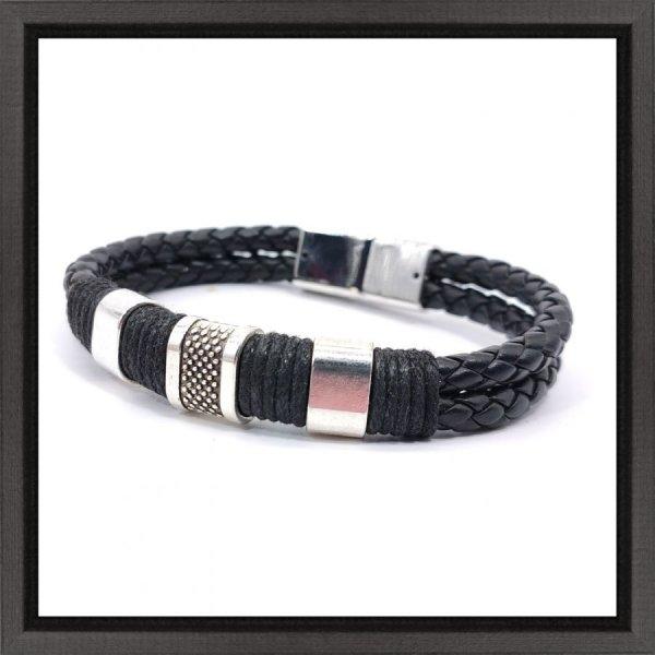 Bracelet homme 3 passants et corde sur cuir noir
