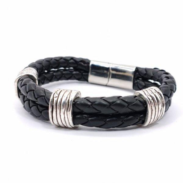 Bracelet homme 3 passants sur double rang de cuir noir