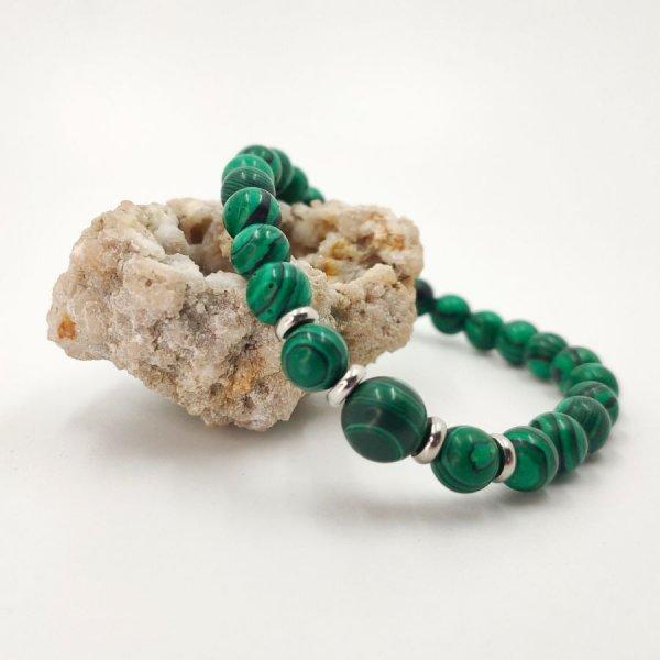 Bracelet homme en pierre de malachite et perles acier inox