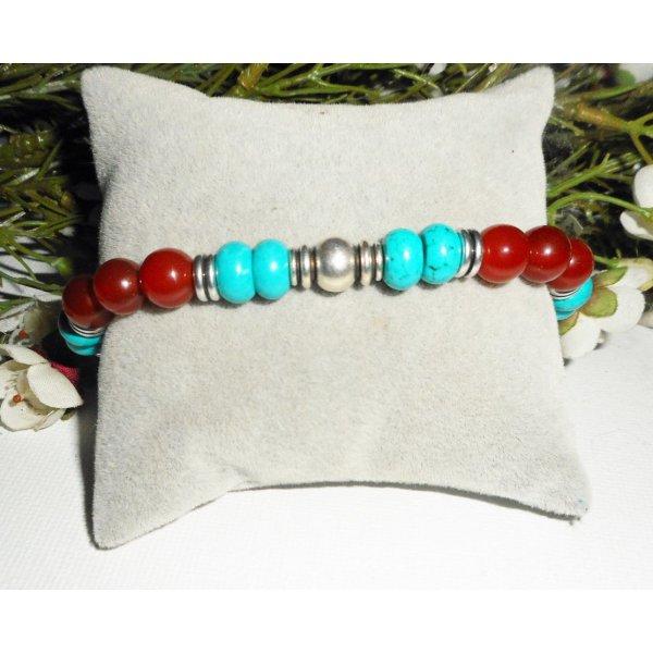 Bracelet homme en pierres cornaline et turquoise