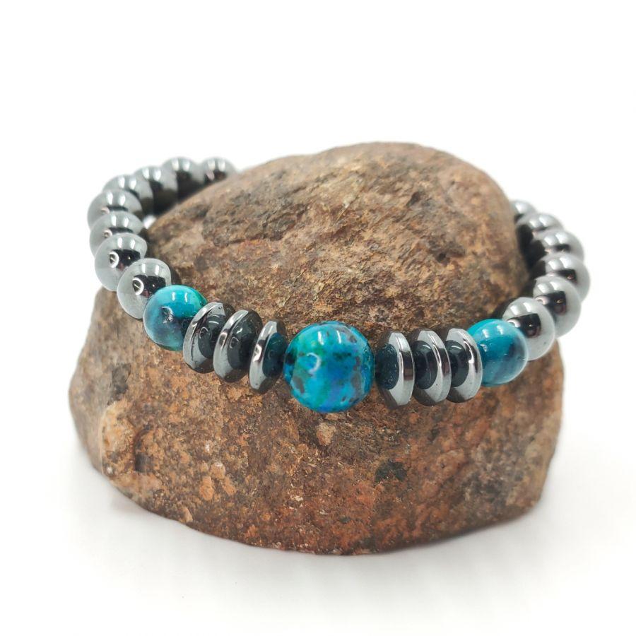 Bracelet homme en pierres d'hématite gris anthracite et crysocolle