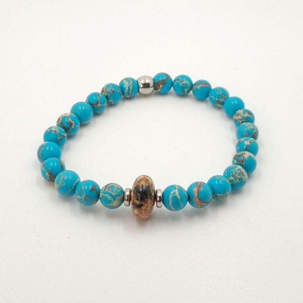 Bracelet homme en pierres de jaspe marron et amazonite et acier inoxydable