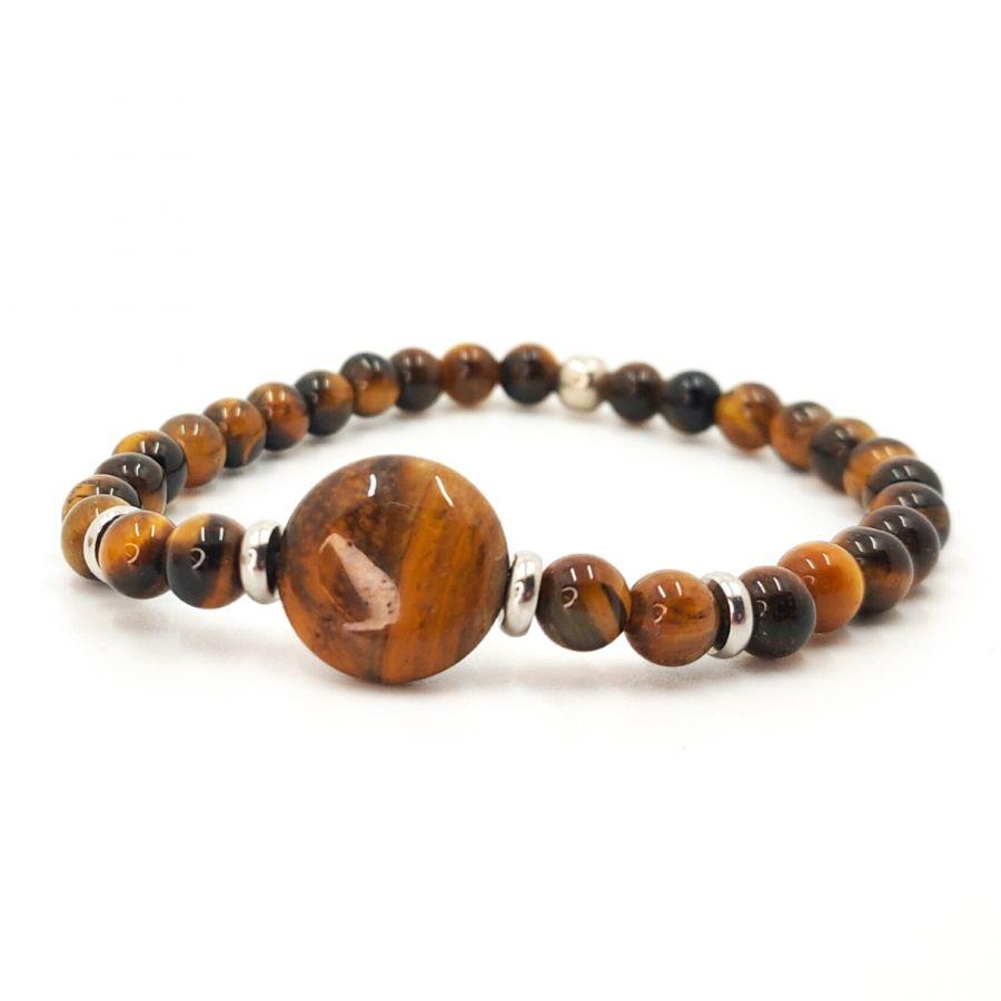 Bracelet homme en pierres d'oeil de tigre et acier inoxydable