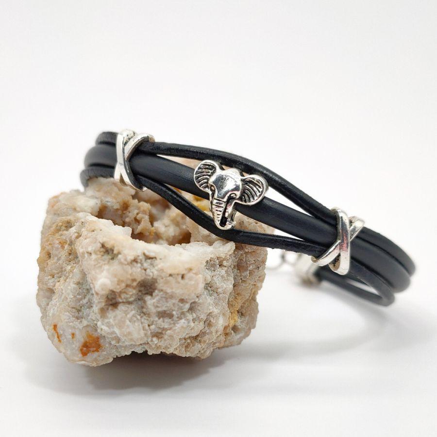 Bracelet éléphant sur cordons de cuir noir