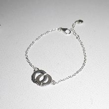 Bracelet menottes en argent 925 sur chaine