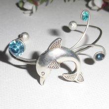 Bracelet en métal soudé avec dauphin et cristal de Swarovski bleu