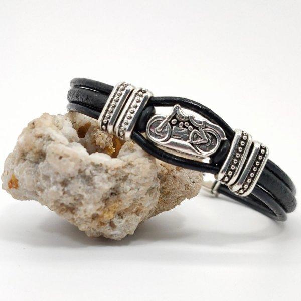 Bracelet moto sur cordons de cuir noir