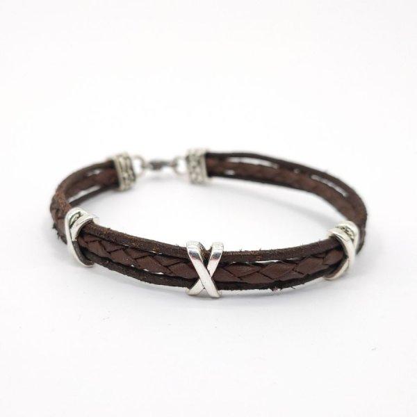 Bracelet multi-rangs en cuir marron pour homme