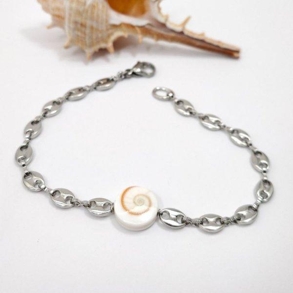 Bracelet oeil de Ste Lucie sur chaîne grain de café en acier