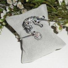 Bracelet original chat et souris en strass