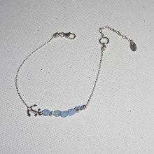 Bracelet original encre marine et petites perles en cristal bleu sur chaine fine en argent 925