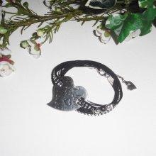 Bracelet original multi-rangs en cordon  avec pierres et coeur en métal argent