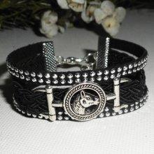 Bracelet original multi-rangs noir avec cheval