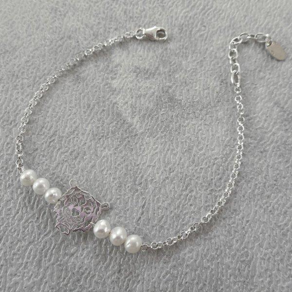Bracelet perle de culture et tigre sur chaine en argent 925