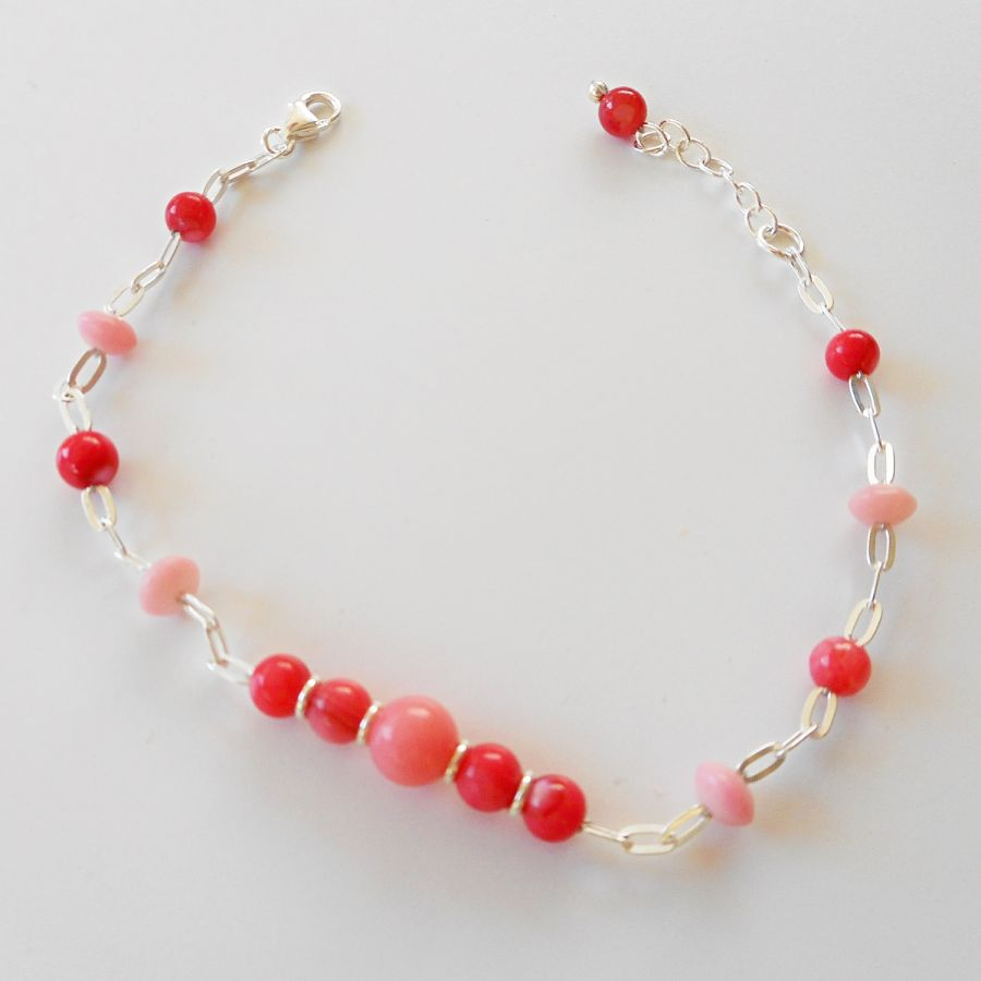Bracelet perles en corail et gorgone rouge sur chaine argent 925