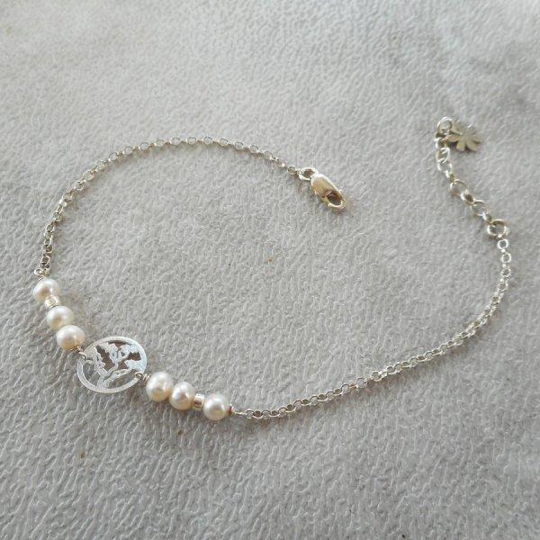 Bracelet en perles de culture avec arbre de vie en argent 925