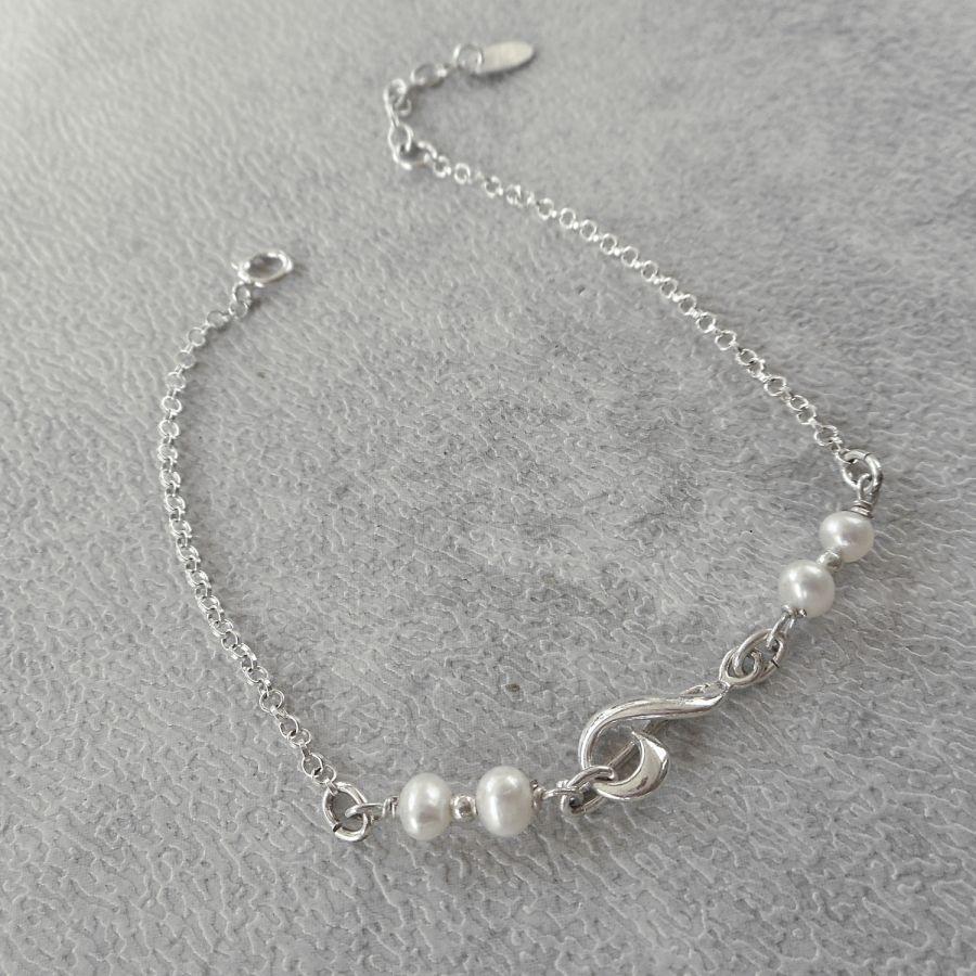 Bracelet en perles de culture avec note de musique en argent 925