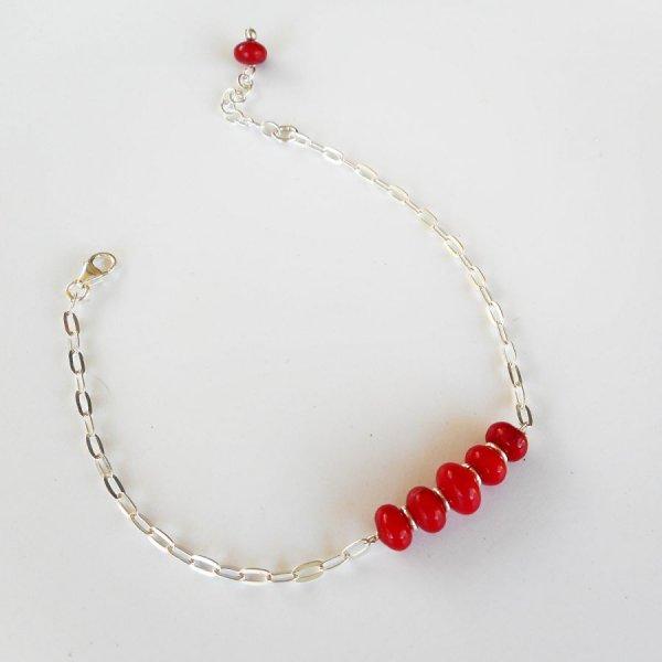 Bracelet perles en gorgone rouge sur chaine argent 925