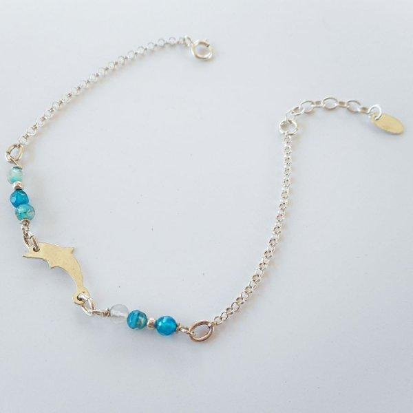 Bracelet petites pierres en agates bleues avec dauphin sur chaine argent 925