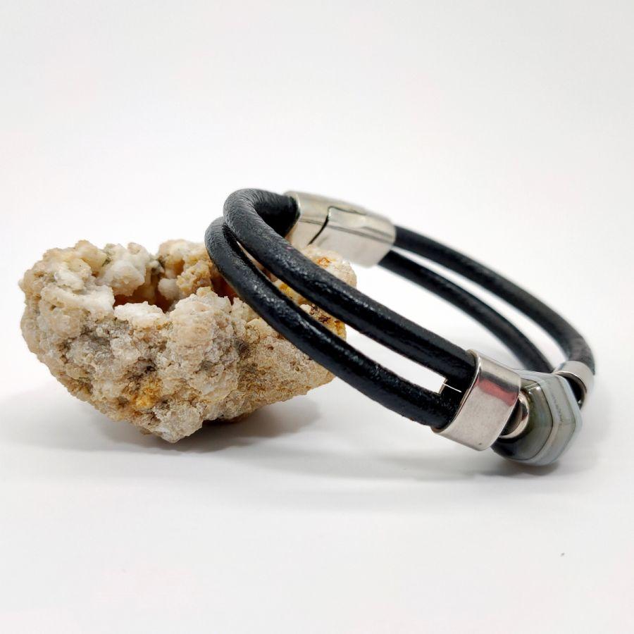 Bracelet pierre en agate de Boswana sur cuir noir double-rangs pour homme
