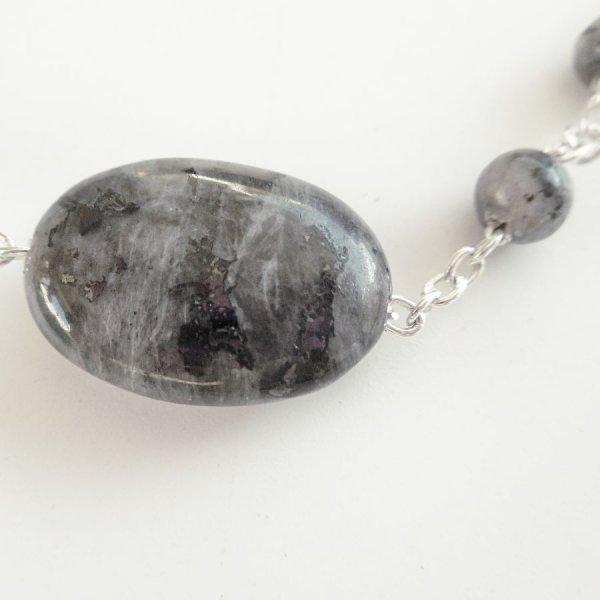 Bracelet en pierre de labradorite grise sur chaine argent 925