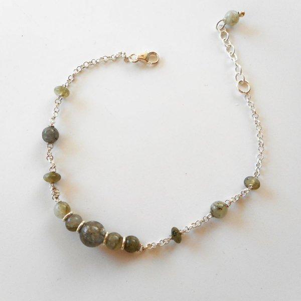 Bracelet en pierre de labradorite verte sur chaine argent 925
