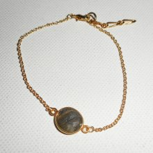 Bracelet pierre de labradorite verte sur chaine plaqué or