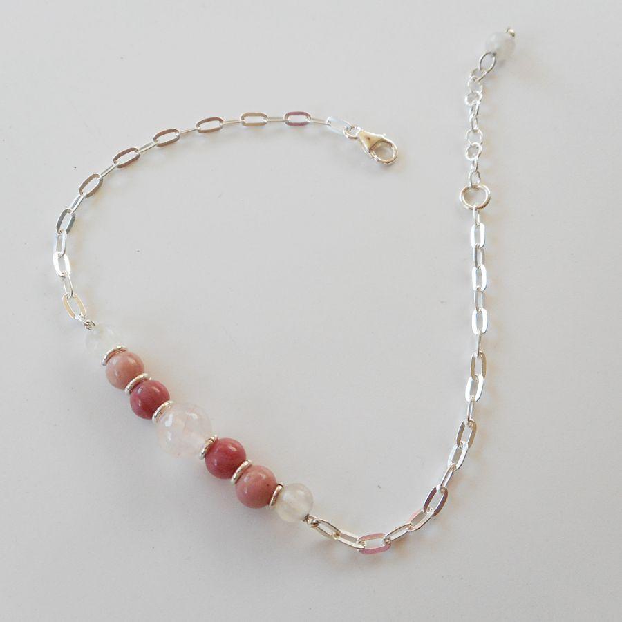 Bracelet en pierre de quartz rose et rhodonite sur chaine argent 925