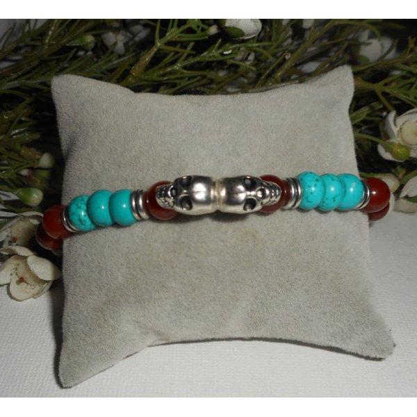 Bracelet pierre turquoise et cornaline avec têtes de mort