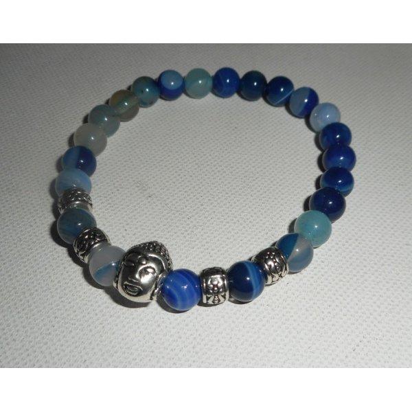 Bracelet en pierres d'agates bleues et bouddha argent