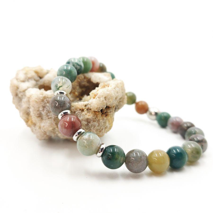 Bracelet en pierres d'agates indiennes et acier inoxydable