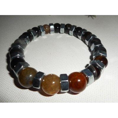 Bracelet en pierres d'agates marrons avec boulons en acier inoxydable