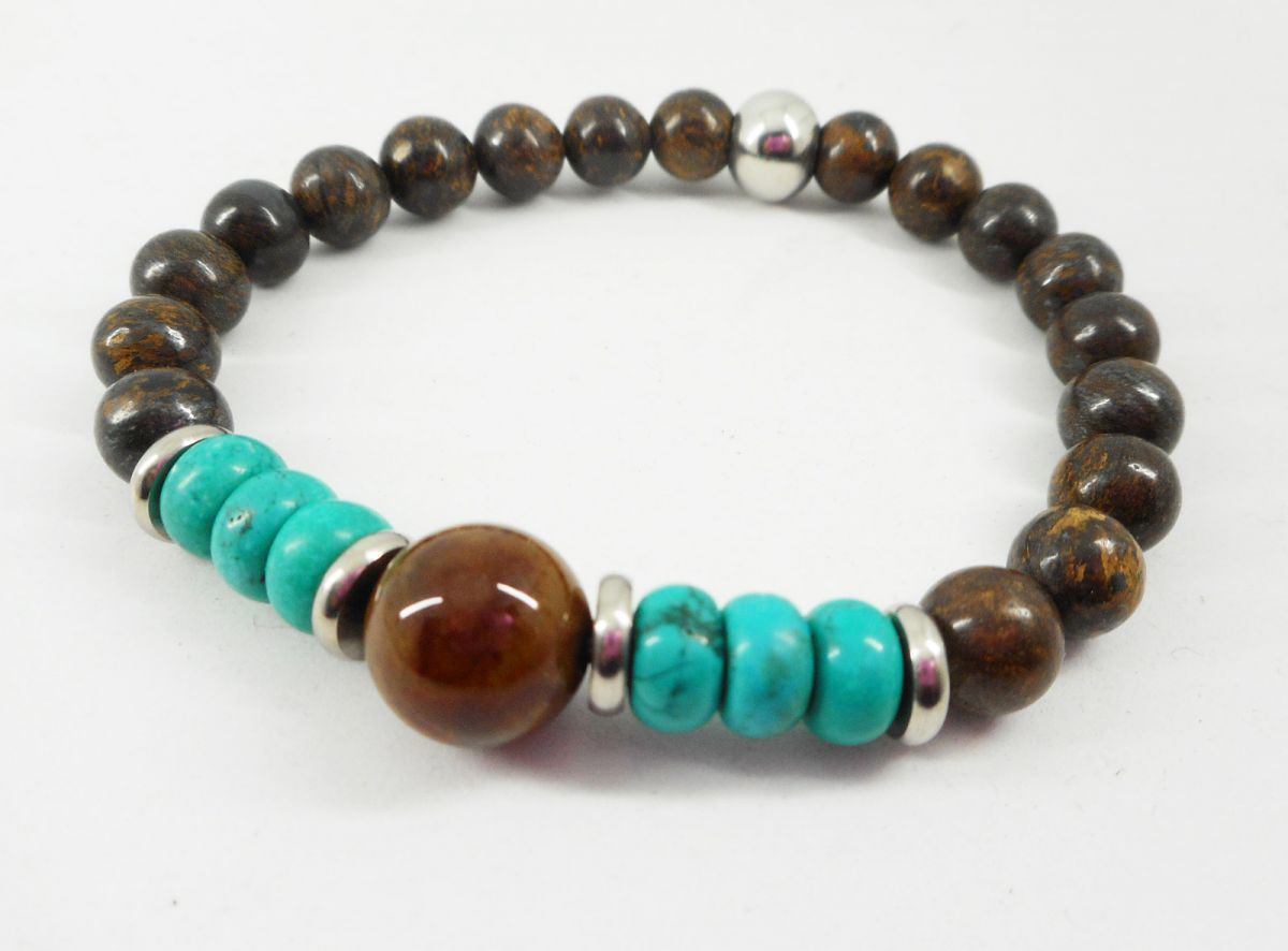 Bracelet en pierres de Bronzite et turquoise avec perles en acier inoxydable