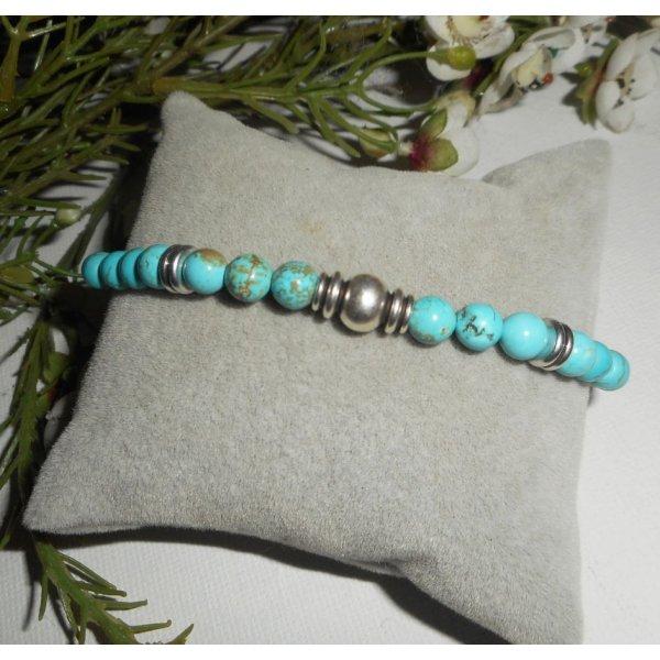 Bracelet en pierres de howlite turquoise avec perle argent
