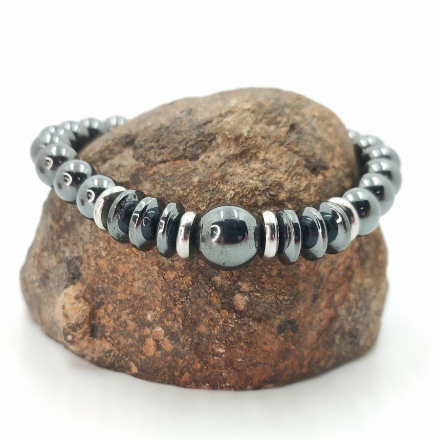 Bracelet en pierres d'hématite gris anthracite et acier inoxydable pour homme