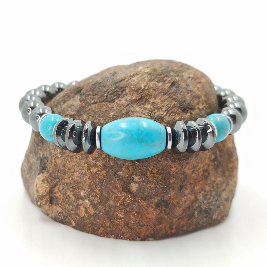 Bracelet en pierres d'hématite gris anthracite et turquenite bleu pour homme
