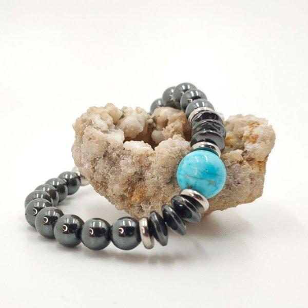 Bracelet en pierres d'hématite gris et amazonite bleu