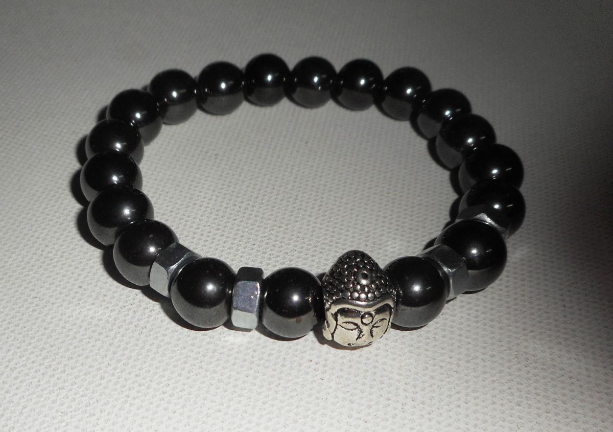 Bracelet en pierres d'hématite et bouddha argent