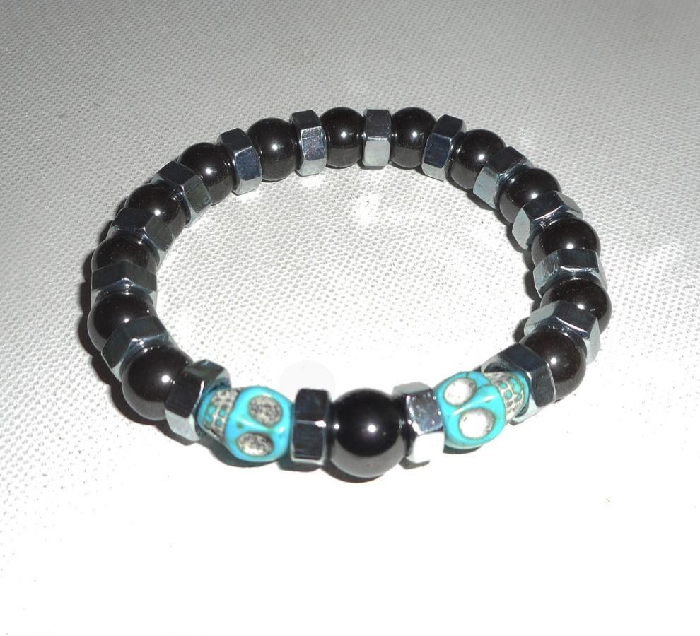 Bracelet en pierres d'hématite avec tête de mort bleu pour homme