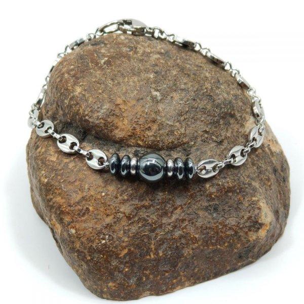 Bracelet pierres en hématite sur chaine grain de café en acier
